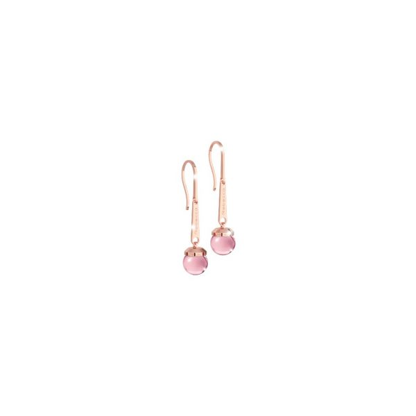 Rebecca BHCORP02 Rose Gold Earrings with Pink Stone