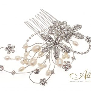 Pearl & Swarovski Crystal Flower Detail Hair Comb