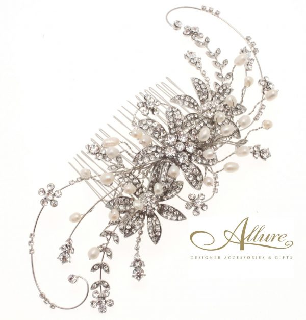 Large Pearl & Swarovski Crystal Flower Detail Hair Comb