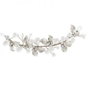 Silver Clear Crystal & Pearl Hair Vine
