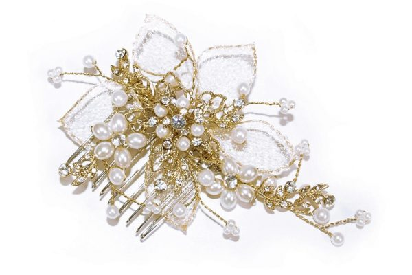 Gold Pearl Flower Comb