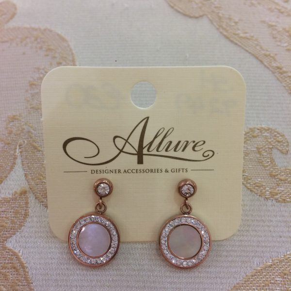 Rose Gold & Opal Circle Earrings