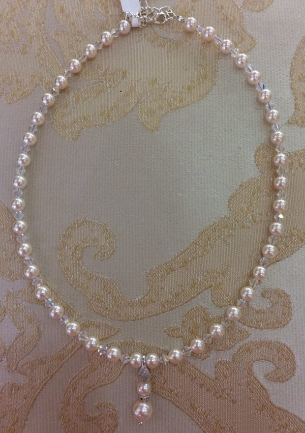 Ivory Pearl & Crystal Drop Necklace