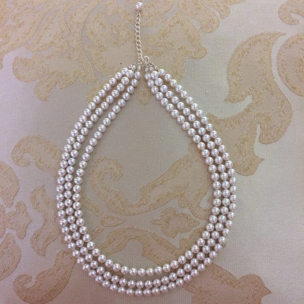 White Three Row Pearl Necklace