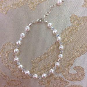 White Pearl & Crystal Bracelet