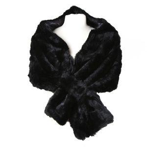 Elegant Faux Fur Black Wrap
