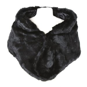 Black Faux Fur Wrap with Collar Detailing