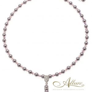 Lilac Pearl & Swarovski Crystal Mix Necklace