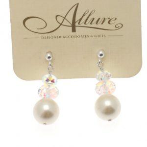 White Pearl & Swarovski Crystal Earring