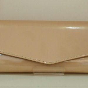 Nude Patent Clutch Bag