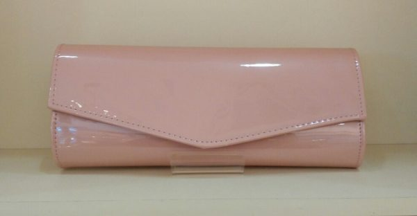 Nude Pink Patent Clutch Bag