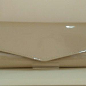 Almond Nude Patent Clutch Bag
