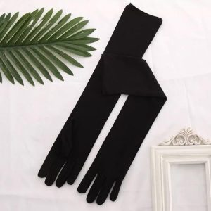 Long Satin Black Evening Gloves