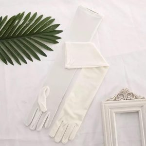 Long Satin Ivory Evening Gloves