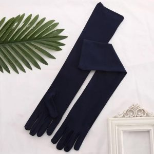 Long Satin Navy Evening Gloves