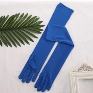 Long Satin Royal Blue Evening Gloves