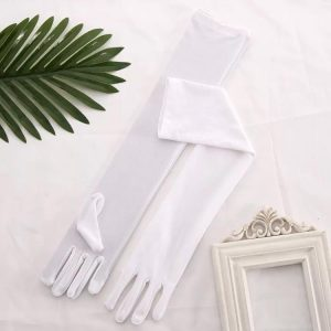 Long Satin White Evening Gloves