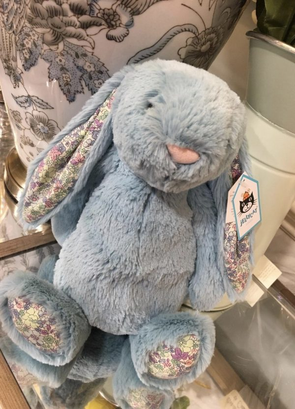 Blue JellyCat Rabbit with Floral Ears
