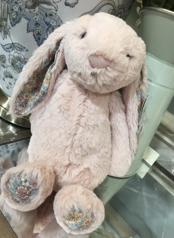 Pink JellyCat Rabbit with Foral Ears