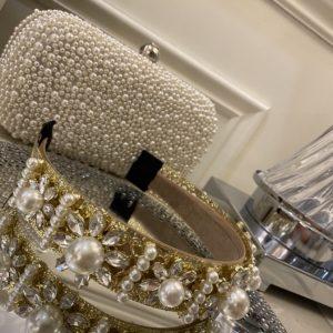 Beautiful Gold Pearl & Crystal Headband