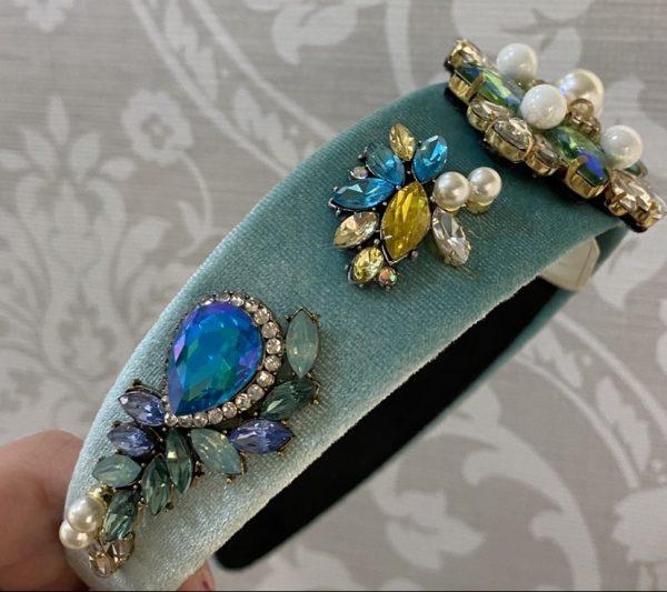 Teal Multi Coloured Jewelled Headband