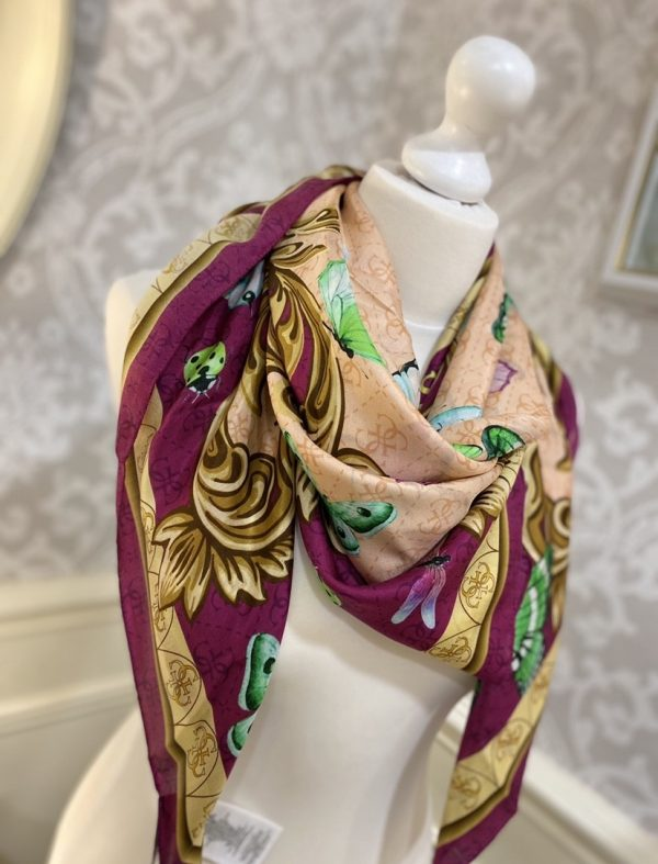 GUESS FUCSHIA BUTTERFLY PRINT SCARF