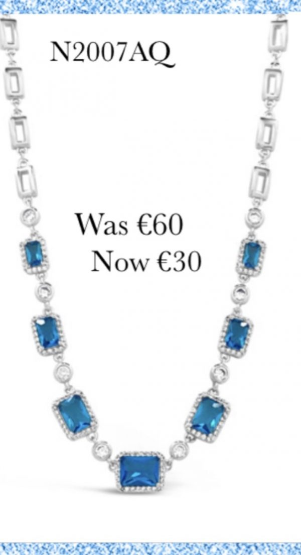 Absolute SALE N2007AQ Silver Plated Necklace